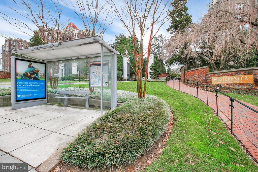 Bus stop at the Westchester entrance - 4000 CATHEDRAL AVE NW #704B, WASHINGTON