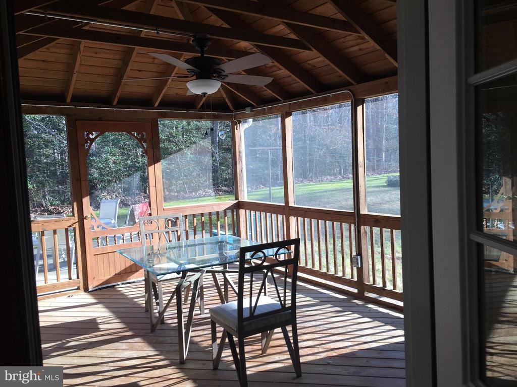 Screened porch with new fan - 8427 BATTLE PARK DR, SPOTSYLVANIA