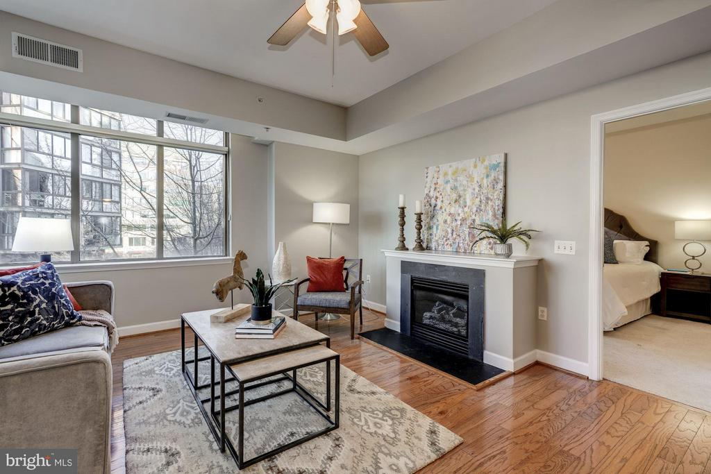 A gas fireplace creates atmosphere - 1000 N RANDOLPH ST #305, ARLINGTON