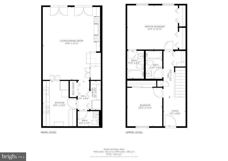 Lower & Upper Floors Floor Plans - 3249 SUTTON PL NW #C, WASHINGTON