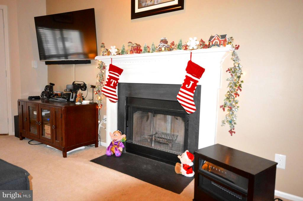 A beautiful mantle makes the fireplace the focus. - 14320 CLIMBING ROSE WAY #203, CENTREVILLE