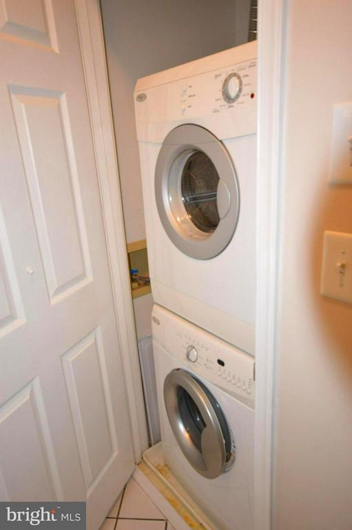 Stacked washer and dryer in front hallway. - 14320 CLIMBING ROSE WAY #203, CENTREVILLE