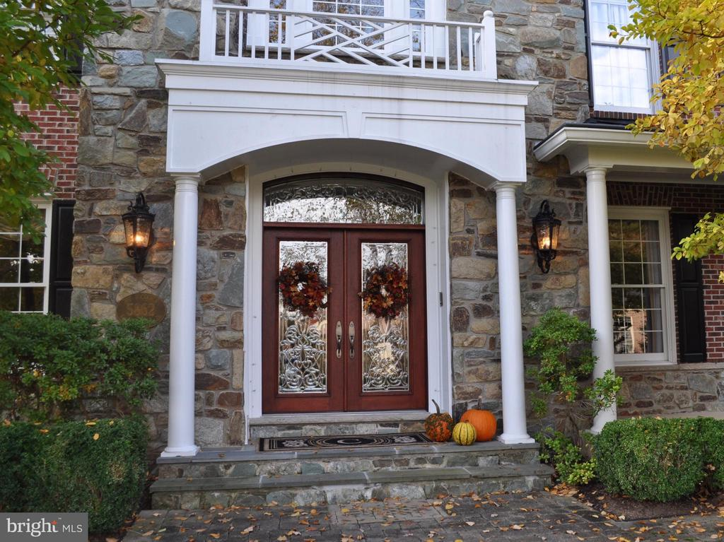 Cut glass front door provides a welcoming entrance - 5862 SADDLE DOWNS PL, CENTREVILLE
