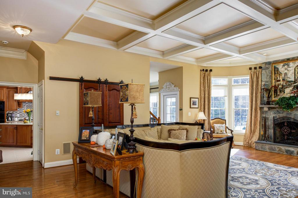 Family Room Coffered ceiling. - 5862 SADDLE DOWNS PL, CENTREVILLE