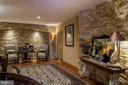 Basement statement wall with stacked stone arch. - 5862 SADDLE DOWNS PL, CENTREVILLE