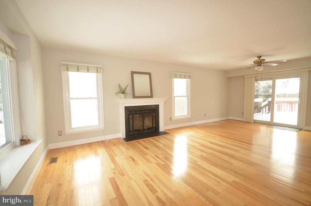 Living room with gas fireplace. - 14609 BATAVIA DR, CENTREVILLE