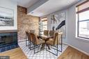 Main Level - Dining Room w/ Fireplace - 1416 21ST ST NW #301, WASHINGTON