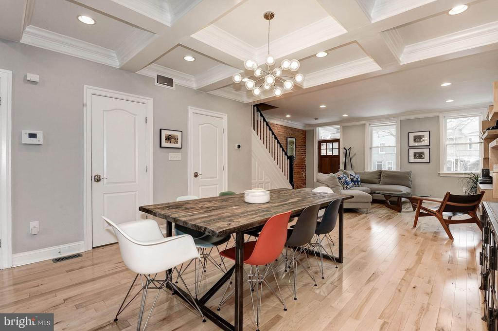 Coffered dining room ceiling breaks up the space. - 541 SHEPHERD ST NW, WASHINGTON