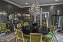 Dining room with chandler and marble floors - 534 UTTERBACK STORE RD, GREAT FALLS