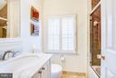 Hall bath - 7013 EXFAIR RD, BETHESDA