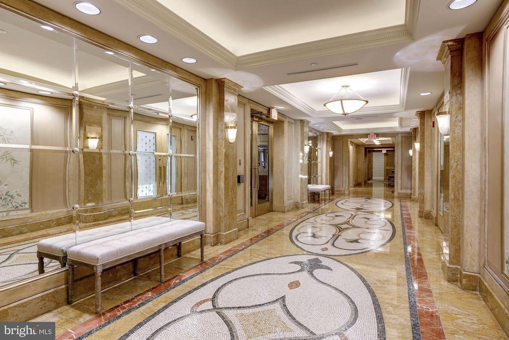 Hallway to Bank of Elevators - 5630 WISCONSIN AVE AVE #1403, CHEVY CHASE