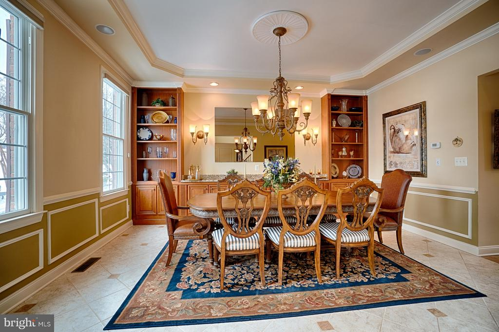 Dining Room with built -ins and wainscotting - 14786 BANKFIELD DR, WATERFORD