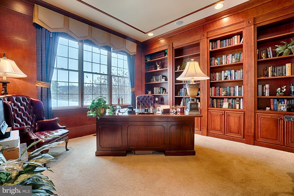Library with custom cherry built-ins - 14786 BANKFIELD DR, WATERFORD