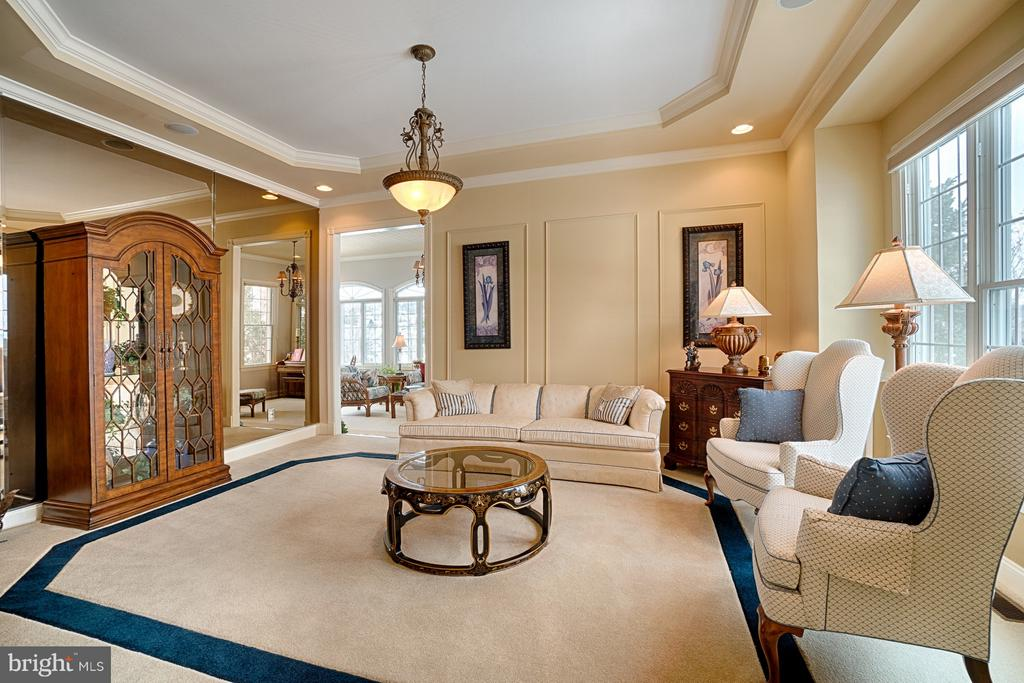 Living Room with custom carpet and mirrored walls - 14786 BANKFIELD DR, WATERFORD