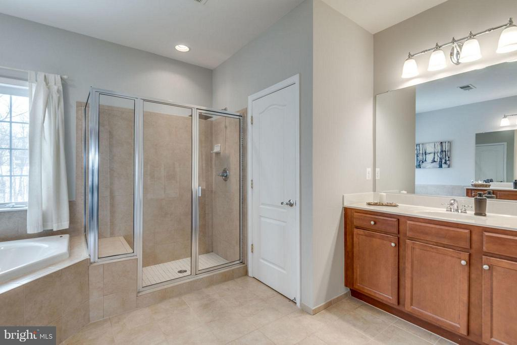 Walk-in shower with bench. - 21584 BURNT HICKORY CT, BROADLANDS