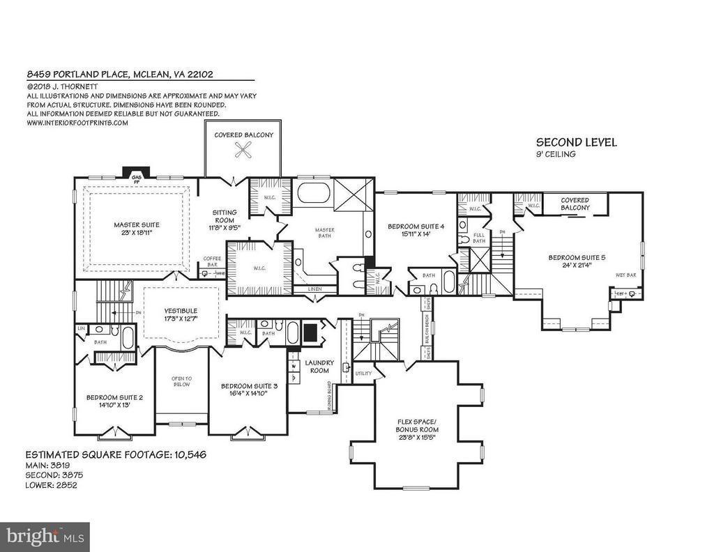 Upper Level Floor Plan - 8459 PORTLAND PL, MCLEAN