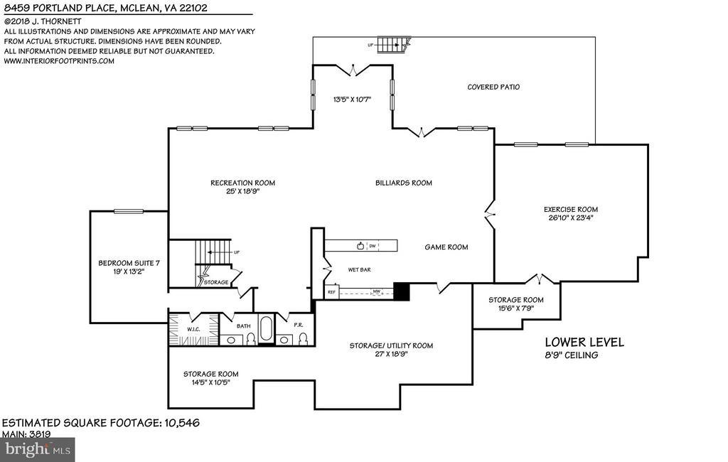 Lower Level Floor Plan - 8459 PORTLAND PL, MCLEAN