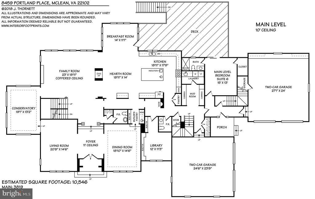Main Level Floor Plan - 8459 PORTLAND PL, MCLEAN