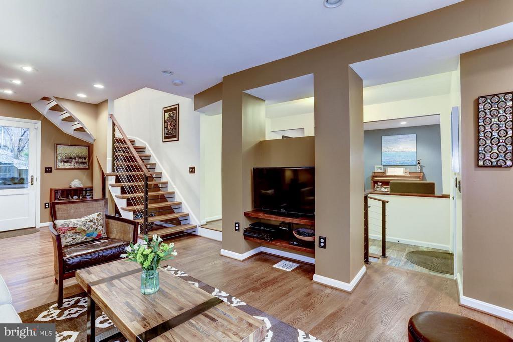 Living room media area - 5704 OREGON AVE NW, WASHINGTON