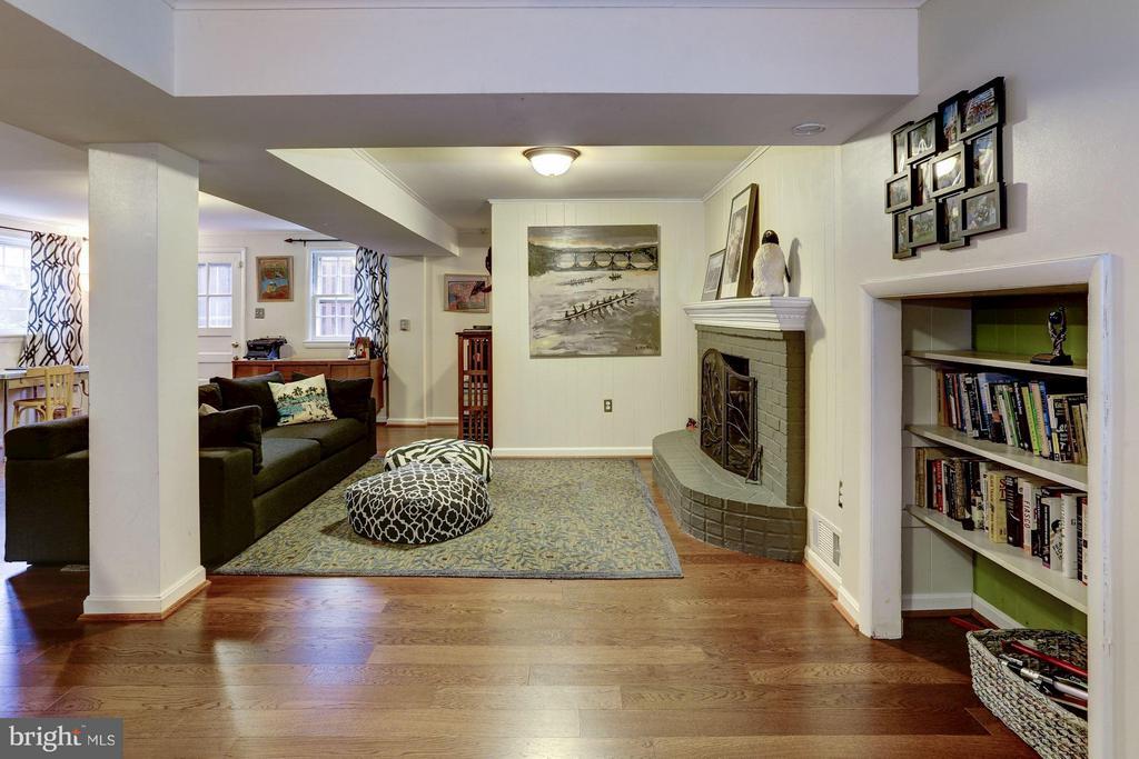 Lower level family room fireplace - 5704 OREGON AVE NW, WASHINGTON