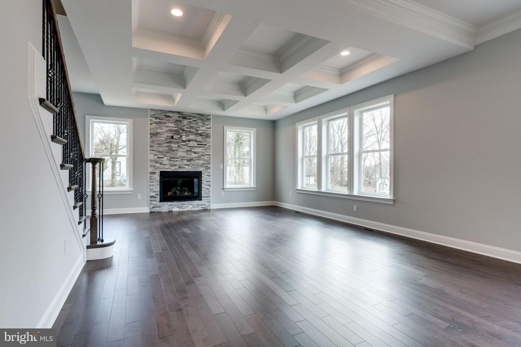 FAMILY ROOM with coffered ceiling; stone fireplace - 8733 POHICK RD, SPRINGFIELD