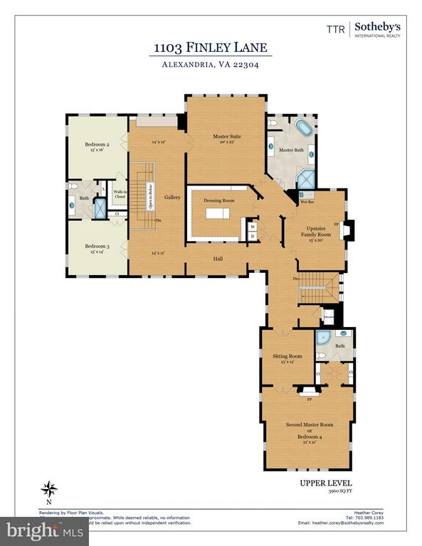 Upper Level Floor Plan - 1103 FINLEY LN, ALEXANDRIA