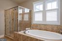 Master bath, soaking tub, glass shower, water clst - 41139 WHITE CEDAR CT, ALDIE