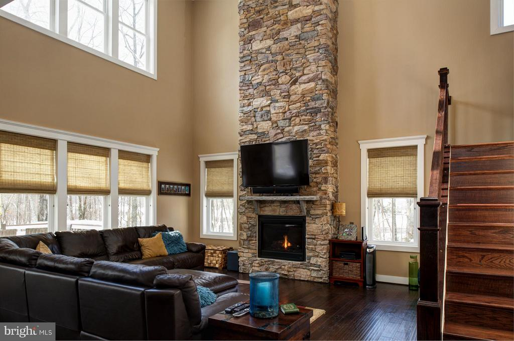 2 story family room with gas stone fireplace - 41139 WHITE CEDAR CT, ALDIE