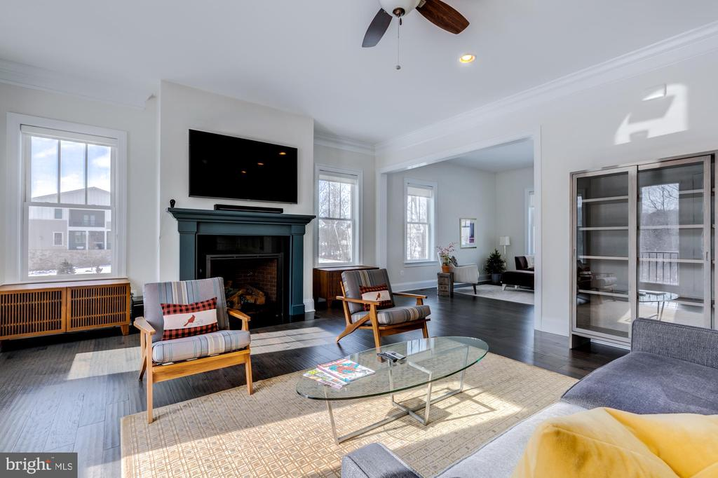 Family room with gas fireplace - 41621 WHITE YARROW CT, ASHBURN