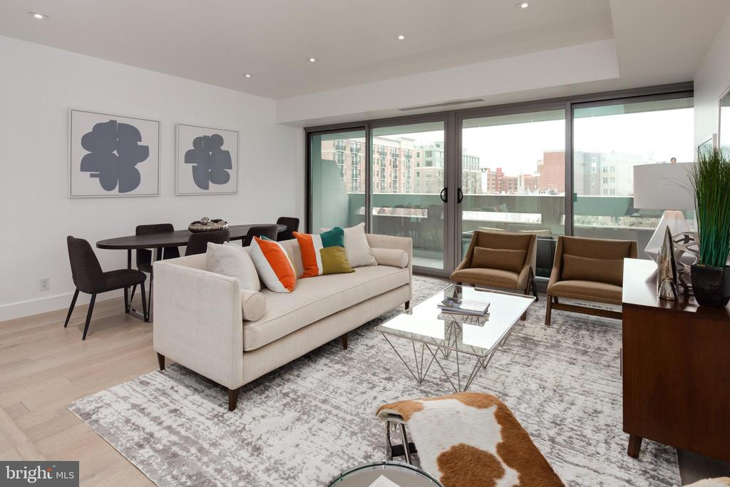 Living Room with private balcony access - 2501 M ST NW #608, WASHINGTON