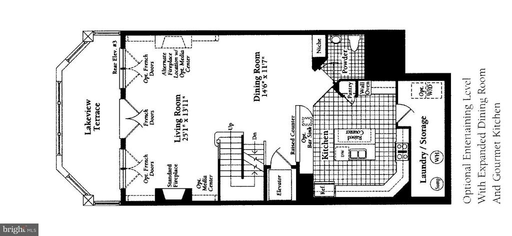Floor Plan- Main Level Kitchen, Dining , Liv Rm - 2052 BEACON HEIGHTS DR, RESTON