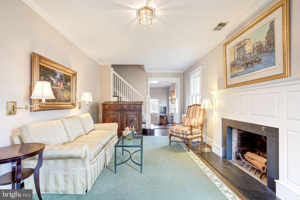 Bright living room with woodburning fireplace - 115 W MAPLE ST, ALEXANDRIA