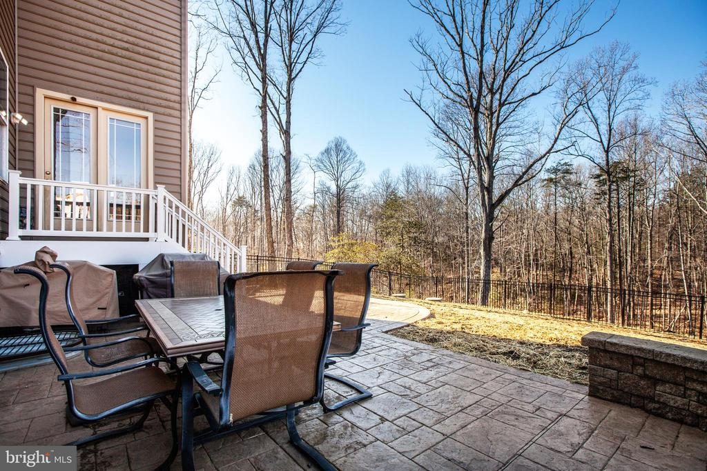 Rear pation looks into fenced yard and trees. - 215 ROCK RAYMOND DR, STAFFORD