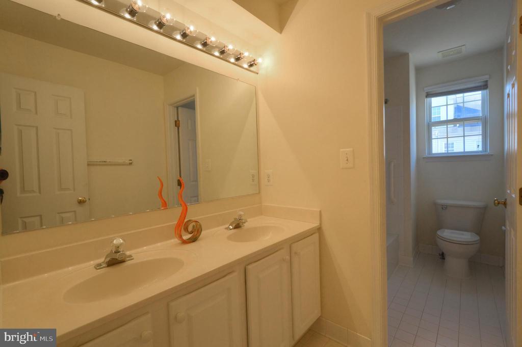 Two sinks, separated bath area in hallway bath - 20974 ALBION LN, ASHBURN