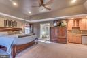 Wet Bar w/ Refrigerator and Tray Ceiling w/ Fan - 70 ALDERWOOD DR, STAFFORD