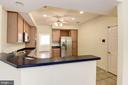 Kitchen bar with raised countertop for barstools. - 18421 GREEN ISLAND TER, LEESBURG