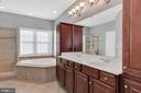 Master bathroom with updated cabinets - 42445 MEADOW SAGE DR, BRAMBLETON