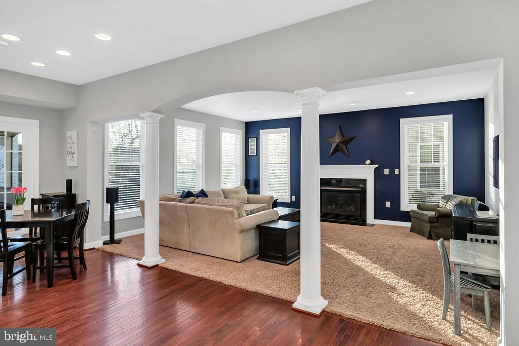 Cozy fireplace in family room - 42445 MEADOW SAGE DR, BRAMBLETON