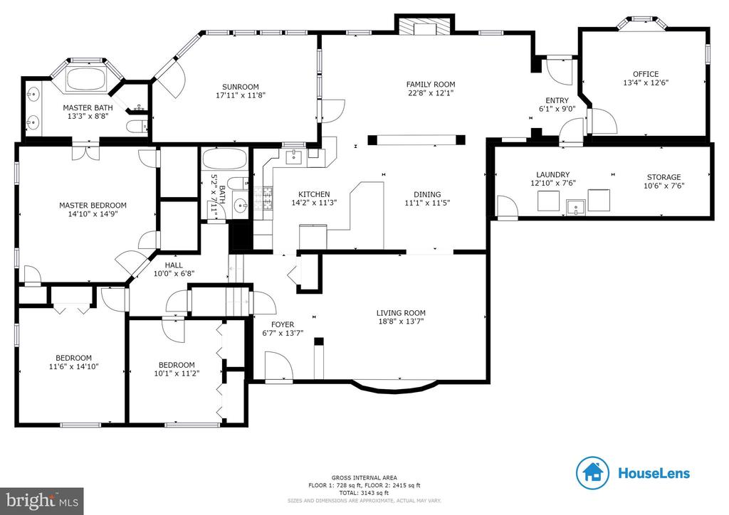 Main and upper level floor plan - 7506 BOX ELDER CT, MCLEAN