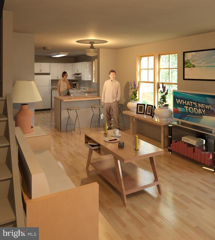 Great room/kitchen rendering - 211 S JEFFERSON ST, MIDDLETOWN