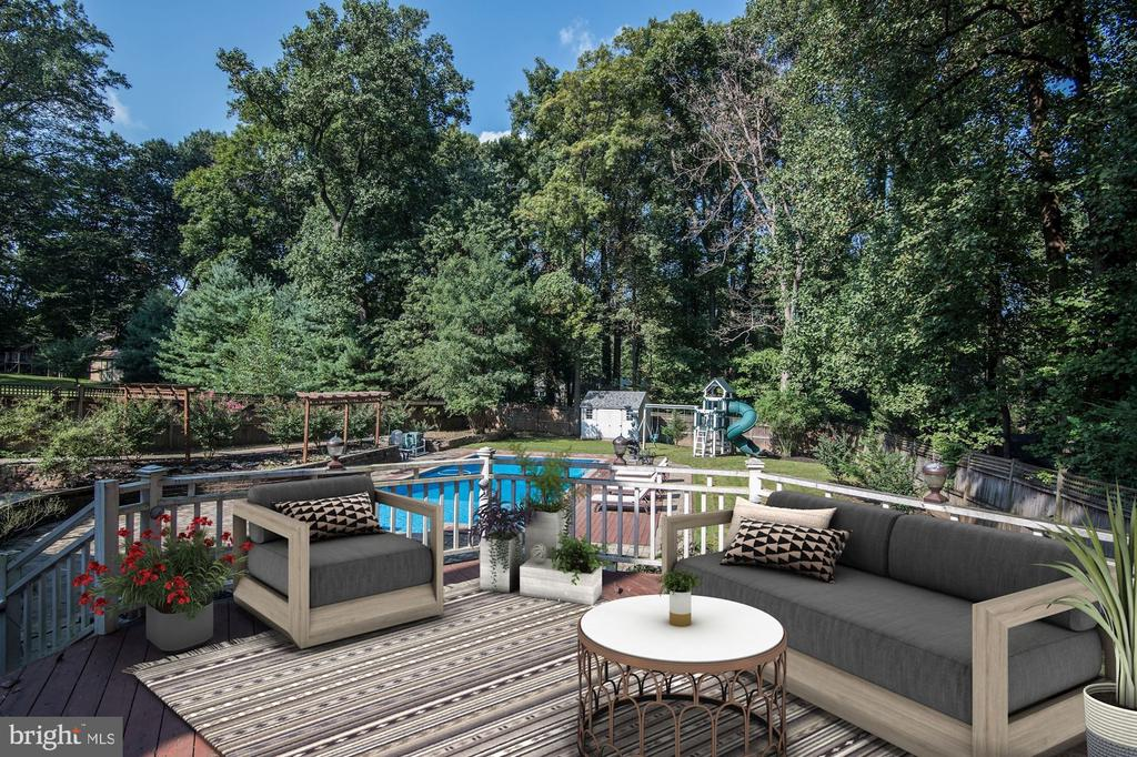 Rear Deck Overlooking the Pool - 2301 TWIN VALLEY LN, SILVER SPRING