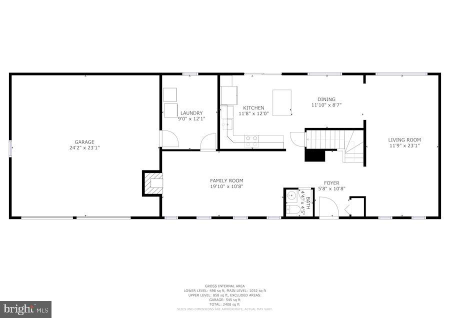 Main level floor plan - 2305 ROSEDOWN DR, RESTON