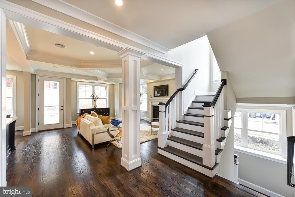 Switchback staircase with Craftsman trim. - 4617 GLENBROOK PKWY, BETHESDA