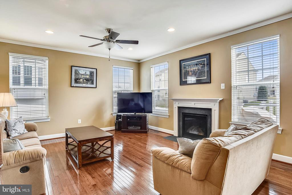 FAMILY ROOM WITH GAS FIREPLACE - 5709 SPRIGGS MEADOW DR, WOODBRIDGE