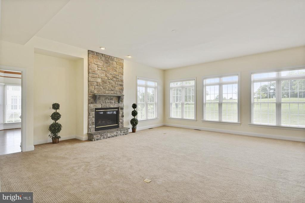 Family room w/ stone fireplace surround - 16600 FERRIERS CT, LEESBURG