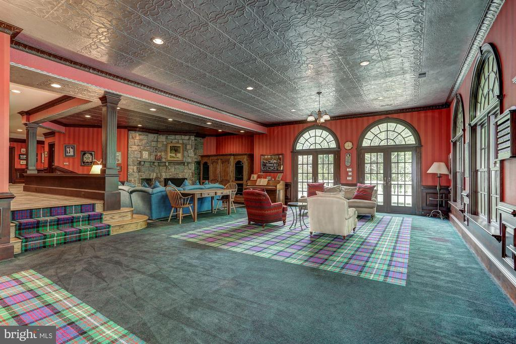 Large entertaining area with hammered tin ceilings - 7984 GEORGETOWN PIKE, MCLEAN