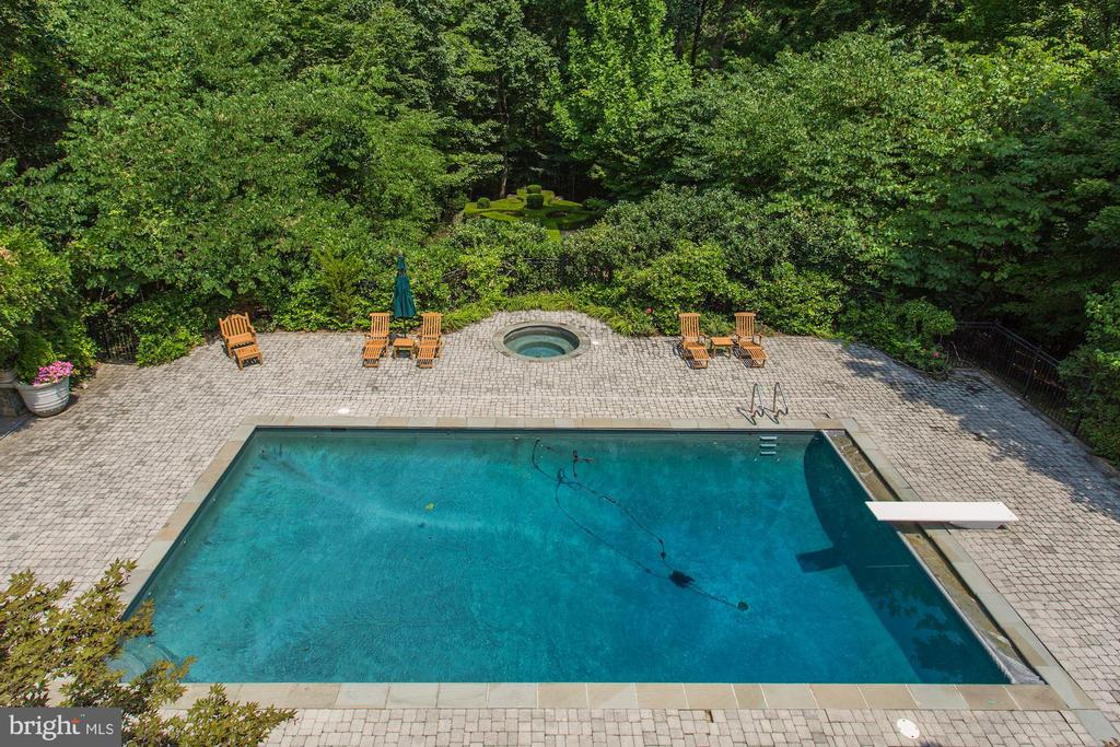 Pool and hot tub among beautiful greenery - 7984 GEORGETOWN PIKE, MCLEAN