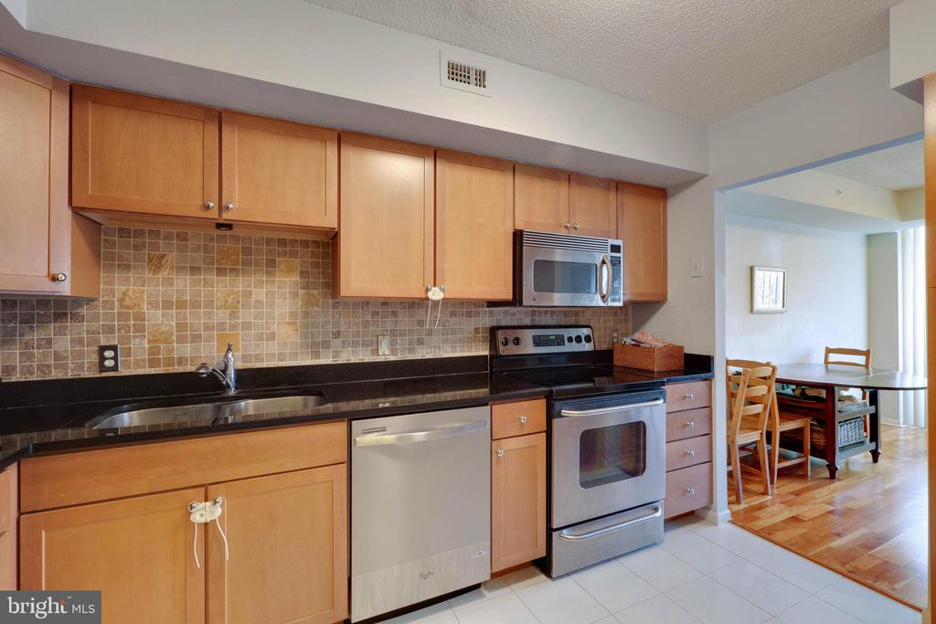 Kitchen  - Ceramic Tile Floors and Backsplash - 2230 GEORGE C MARSHALL DR #327, FALLS CHURCH