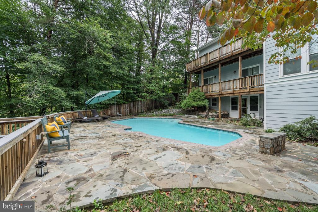 Pool Area & Rear of House (note the 2 Deck Levels) - 3502 PINETREE TER, FALLS CHURCH