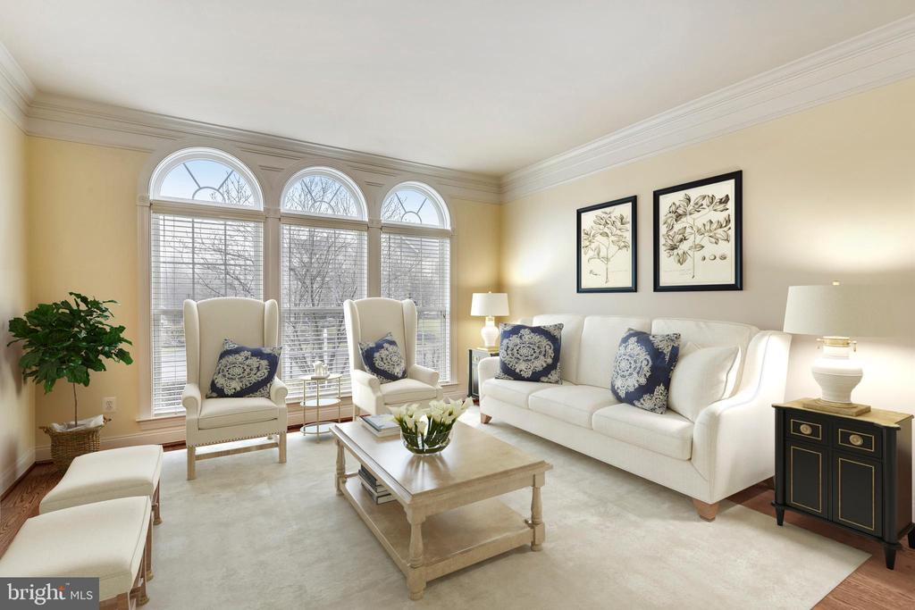 Formal living room with ceiling -  floor windows - 16600 FERRIERS CT, LEESBURG